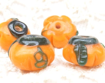 Orangle Pumpkin Lampwork Glass Beads (4)