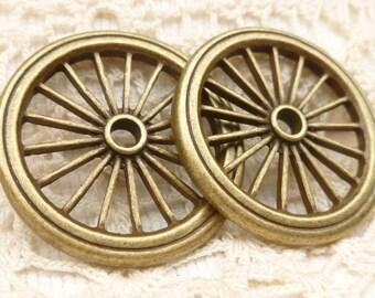Large Retro Pioneer Wagon Wheel Connector Charm Pendants (2)