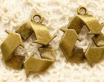 Recycle Symbol Sign Charms, Antiqued Bronze (4) - A13