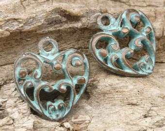 Rustic, Vintage Look, Filigree Heart Charms, Pendant - Mykonos Casting Beads (2) - M55 - X3610