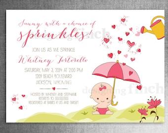 Baby Sprinkle, Girl Baby Shower Invitation, Printable, Customizable #127
