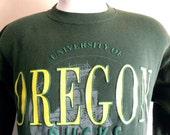 Go UO Ducks vintage 80's 90's University of Oregon dark forest green fleece yellow puffy print college crest graphic sweatshirt crew neck