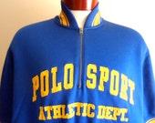 vintage 80's 90's Ralph Lauren Polo Sport Athletic Dept. 22 blue fleece half zip short sleeve shirt jacket yellow applique spellout logo
