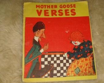Vintage 1929 Mother Goose Verses Oil Cloth Book Jack Sprat Barber Barber Sunshine Jack Horner