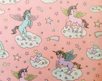 Cute Unicorn Print Japanese Fabric Pink - 110cm x 50cm