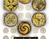 Magical Esoteric Glyphs 1 inch Tiles Circles Alchemy Digital Collage Instant Download Printables Scrapbook Jewelry Making Resin Pendants