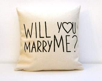 Valentines day will you Marry Me?, dorm pillow, quote pillow, gift for newlywed, bridal pillow, engagement pillow, anniversary gift, cushion