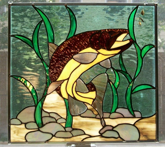 Stained glass brown trout panel for Stained glass fish