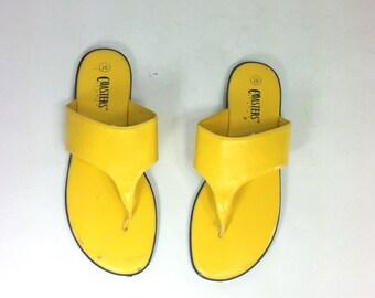 90s Wide Strap Flip Flops 10 - Yellow Vegan Leather Sandals 10 - Yellow Sandals 10