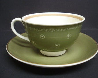 Uncommon Cup and Saucer by Susie Cooper Unique Decoration and Color Made in England