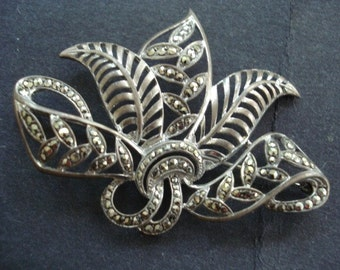 Gorgeous Silver Marcasite Brooch Open Work on SIlver