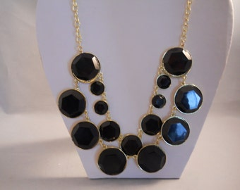 Two Strand Gold and Black Charm Pendant Necklace