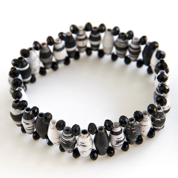 sparkly black and white beaded bracelet
