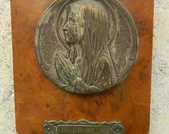 """Wall wooden plaque of the Virgin Mary """"Remember de Lourdes"""""""