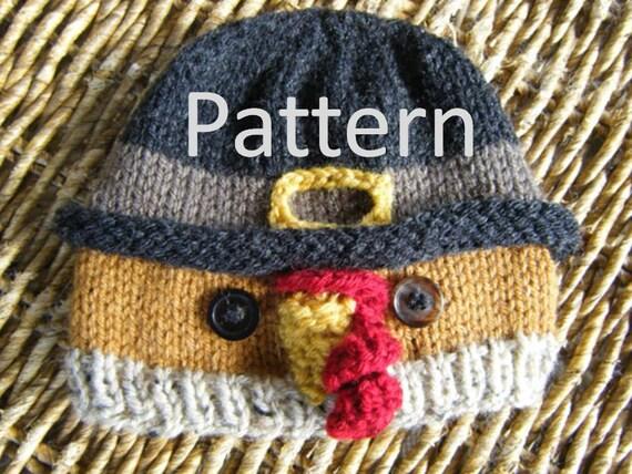 Turkey in Pilgrim hat knit baby hat pattern by karenshines on Etsy
