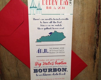 Hats, Bow ties, & Bourbon! Kentucky Derby Party Invites Printable DIY