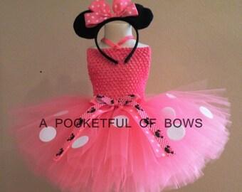 Pink Polka Dot Tutu Dress, Toddler Girls Birthday, Mouse Costume