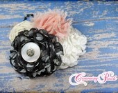 M2M Persnickety, Nob Hill, Blush, Black, Ivory Headband, Baby Girl Hair Accessory, Hair Bow, Hair Piece, Toddler, Infant, Fabric Flower Clip