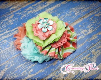 Aqua, Coral Flower Headband, Light Green, Coral Hair Piece, Fabric Flower Hair Bow, Baby Girl Headband, Hair Clip, Baby Headband