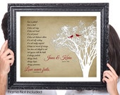 LOVE Never Fails, Gift for Wife, Corinthians, Birds, Personalized Couples Wedding Gift, 1st Anniversary, Tree, Shabby Chic