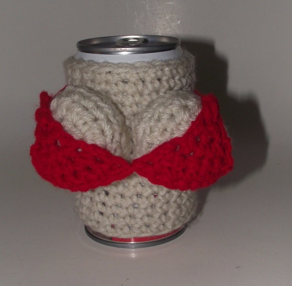 Bikini Breast Theme Crochet Can Koozie Coozie Cozy Koozy