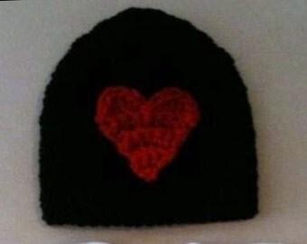 Valentine's Day beanie hat - Crochet Valentine's beanie hat - black w/ red heart