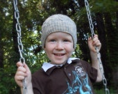 Eco-friendly Kids Cabled Beanie Hat Hand Knit in Neutral Gray and Cream Organic Wool for Boys and Girls