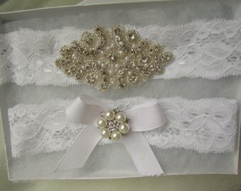 SALE Wedding Garter, Bridal Garter - Crystal Rhinestone with white Satin Ribbon bow