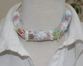 Pastel Necklace - twisted textile strips with handmade cord crocheted edging and embroidered daisies