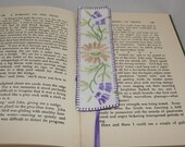 Embroidered Daisy Bookmark Edged in purple - re-stitched from vintage table linen by Lynwoodcrafts