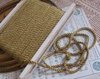 Cord Vintage Green Gold Twisted Rayon Satin Rope Trim 5mm - 2 Yards - Original Vintage USA
