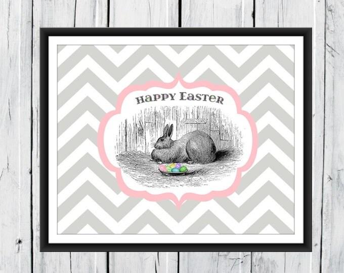 Easter Print - Easter Bunny Print- Easter Decor - Chevron Background
