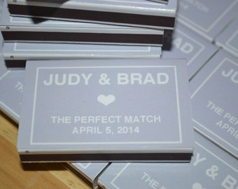 "200 Custom  Wedding Favor Matchboxes - ""Judy & Brad"""