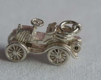 Vintage Silver Hinged Opening Car Charm 1960s