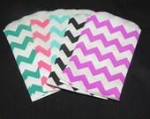 25 Mini multi color Chevron 3x5 inch Flat Paper Bags Pink, Teal, Blue, Black, Purple Cute 3.25x5.25 Kraft Goodie Favor Bags, Itty Bitty Bag