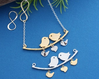 Family Necklace, INFINITY Necklace . Bird Necklace, Family love Bird Necklace, Mothers gift, Costum Necklace. MONYART Original design