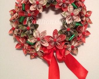 Origami Paper Flower Wreath / kusudama, paper flower wreath, christmas wreath, holiday wreath, paper wreath, paper flowers, origami, kus