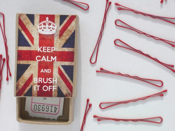 Keep Calm and Brush It Off Box of Bobby Pins UK Union Jack choose Hair Grips in Red Pastel Mini Bobby Pins in Black Brown Blonde and Pink