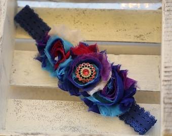 Deep Blue Sea Shabby Flowers Headband (Deep blue, purple, dark pink, and white)