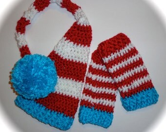 Crochet pixie elf long tail hat diaper cover leg warmers newborn / 0 3 month photo prop boy or girl Dr. Seuss colors red white turquoise