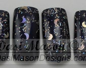 Shimmering Glitter Moons Instant Acrylic Nail Set