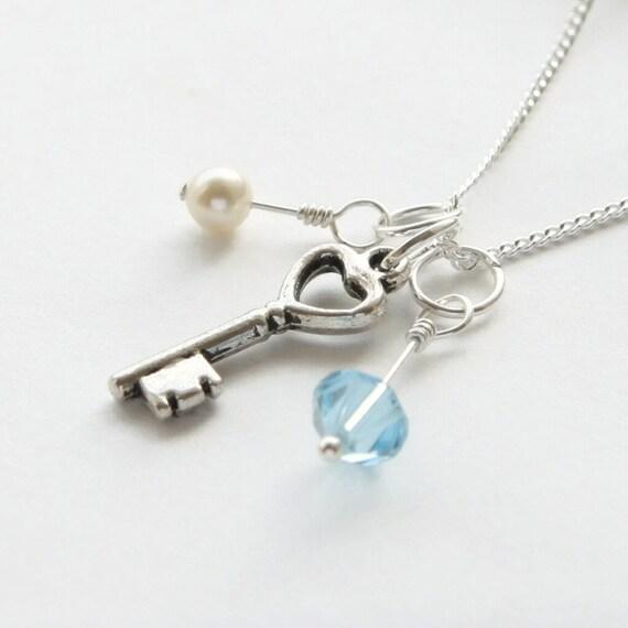 18th Birthday Necklace Sterling Silver Custom Birthstone: 18th Or 21st Key Necklace Birthstone By WillowbrookArtistry
