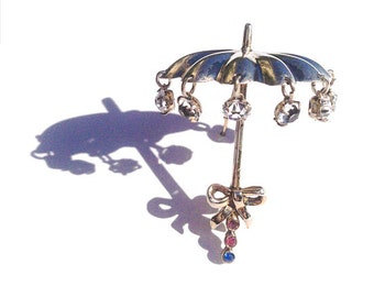 Vintage Umbrella Brooch Pin Sterling Articulated Crystal Raindrops