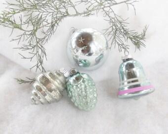 Vintage Blue Mercury Glass Christmas Ornaments, Set of 4, Victorian, Shabby Chic, Cottage Chic, Antique, Beach Cottage, Aqua
