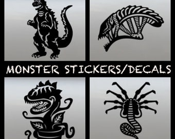 MEGA MONSTER Sticker Pack, Xenomorph Sticker, FaceHugger Decal, Godzilla Decal, Audrey 2 Sticker, Halloween Decor, Monsters