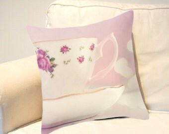 Tea cup Throw pillow cushion -  includes insert - Tea cup, Pastel home decor