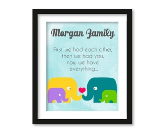 first we had each other, Nursery decor, elephant family,blue watercolor, anniversary art, baby shower decor, first we had art, kids wall art