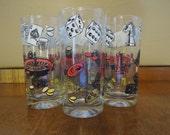 Vintage Glassware Gambling Poker Roulette Dice 1960s