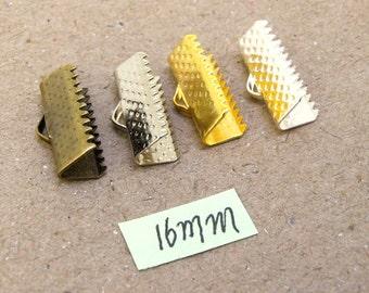 16mm White platinum Color/ Silver /Yellow Gold /Bronze Color Clamps Beads Ribbon Clamps Crimp Ends with Loops 30PCS/50PCS/100PCS