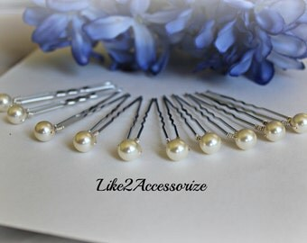 10 Hair Pins, Wedding Hair Clip, Bridal Hair Piece, Bridesmaid Headpiece, Ivory Brown Gold Hair Pins, Prom Hair Do, Swarovski Pearl Hair Pin